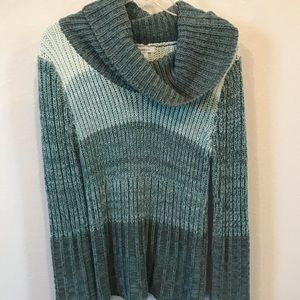 Teal colorblock cowl-neck Sweater